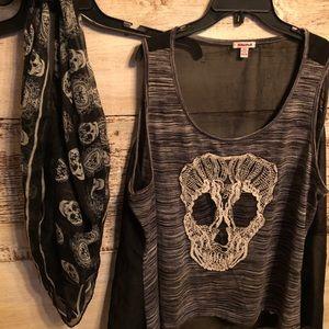 Plus size 3X sleeveless skull top & scarf